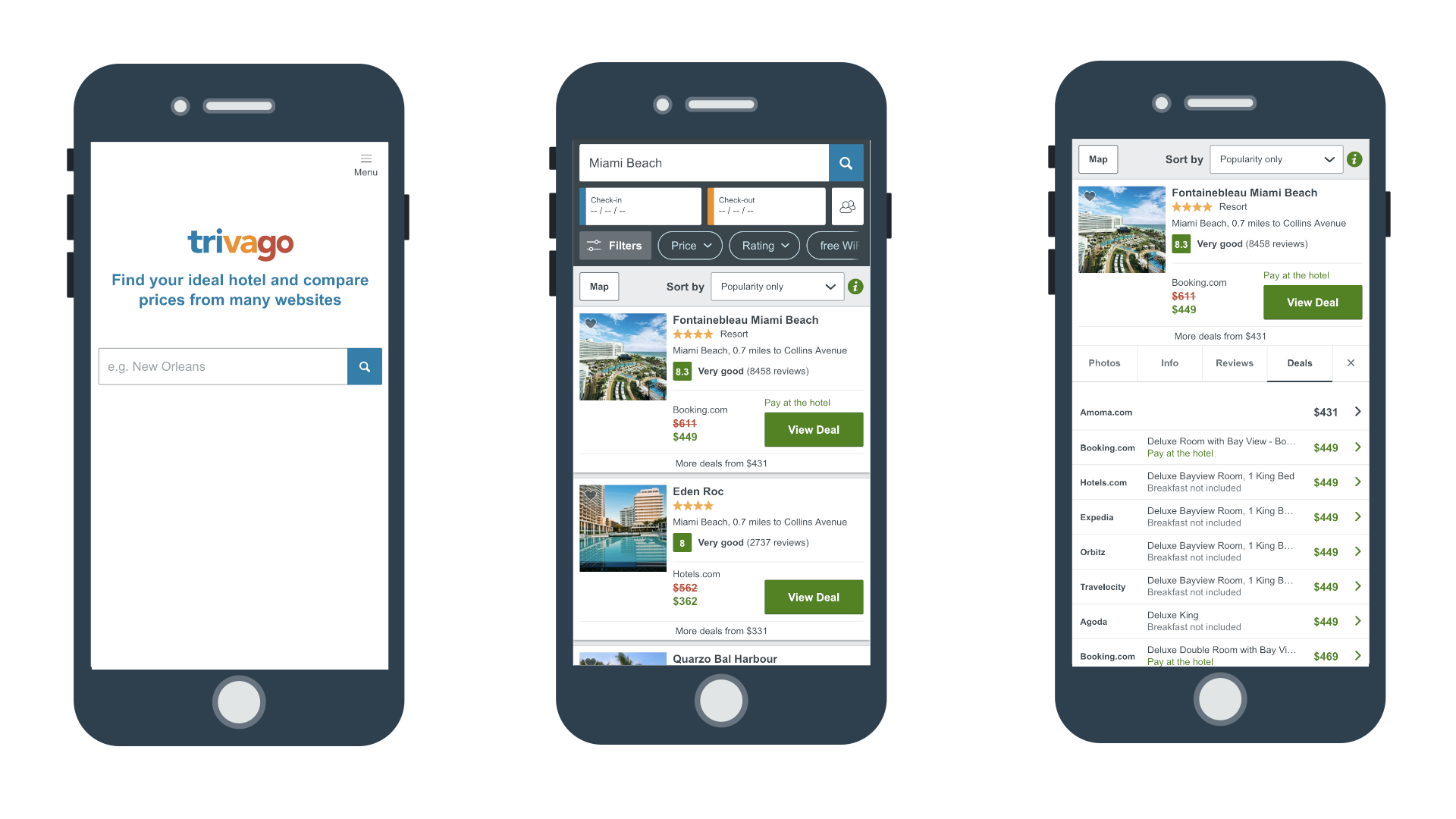 examples of PWA development - Trivago